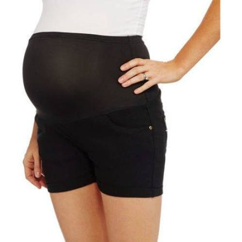 Oh! Mamma Maternity Full Coverage Stretch Twill Short with Embroidered Back Pockets - Keuka Outlet
