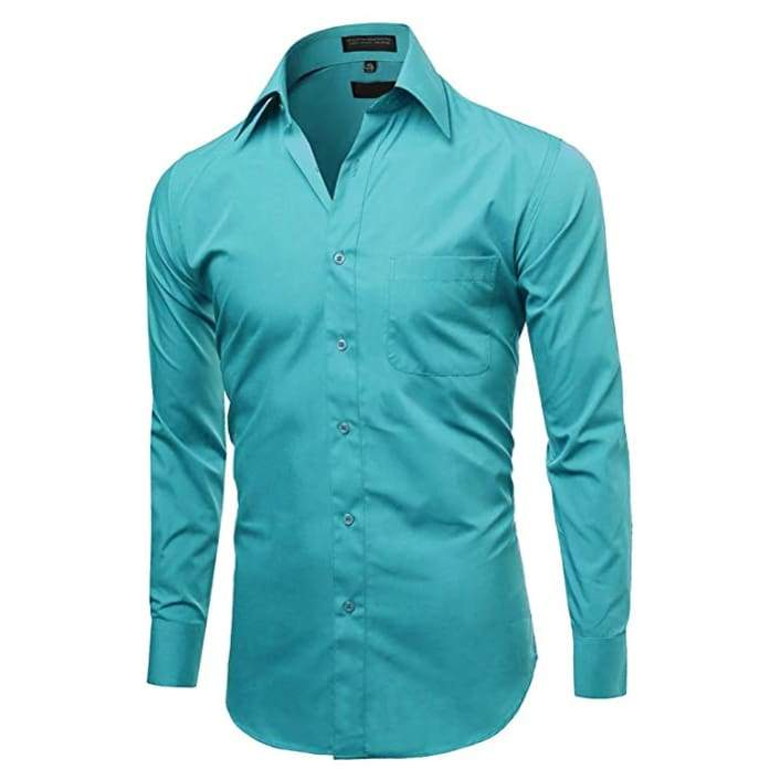 Omega Italy Mens Long Sleeve Dress Shirt Solid Color Regular Fit - Clothing