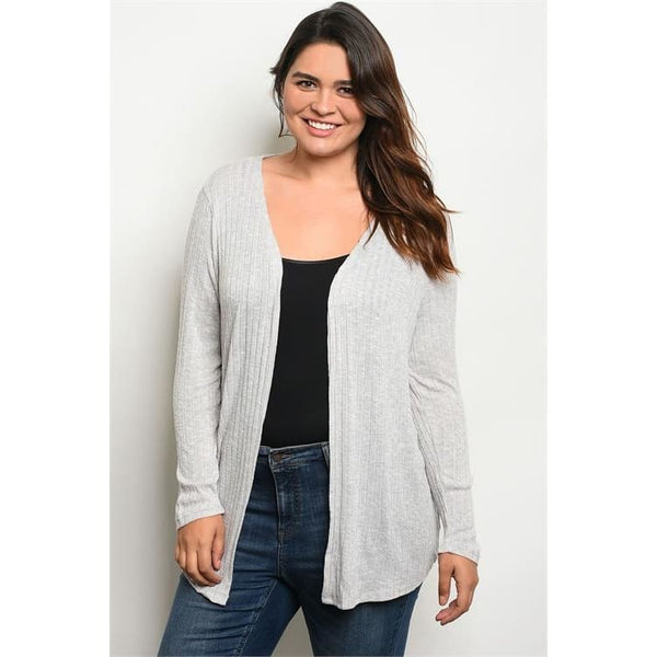 Open Front Slub Knit Cardigan (C8434BX) - Keuka Outlet