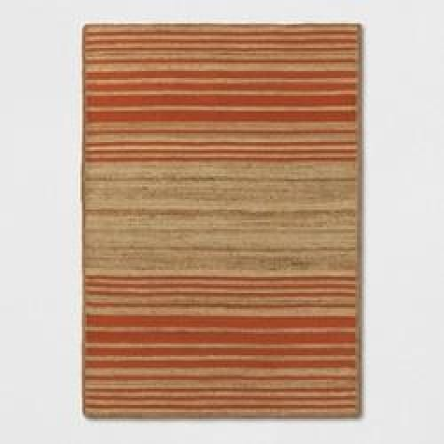 Orange Striped Braided Jute Area Rug 5X7 - Keuka Outlet