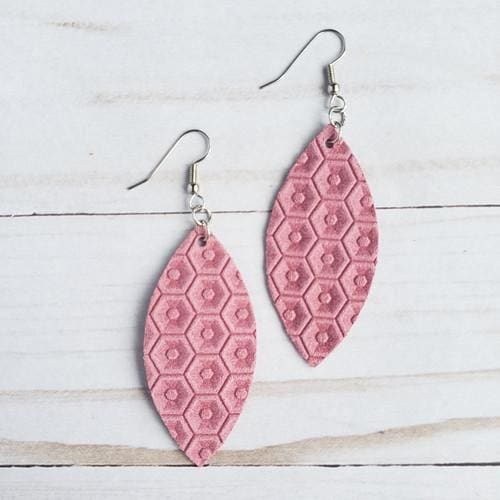 Pink Honeycomb Leather Petal Earrings - Accessories