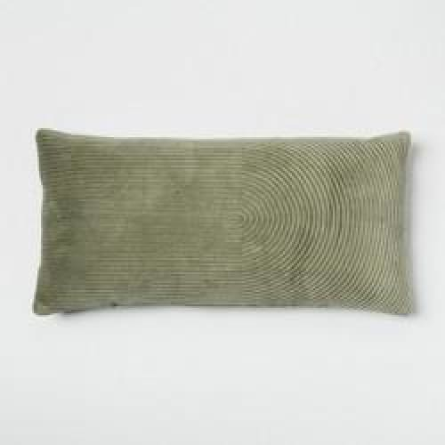 Quilted Velvet Oversized Lumbar Throw Pillow Green - Bedding