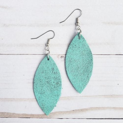 Rockin Aqua Leather Petal Earrings - Accessories