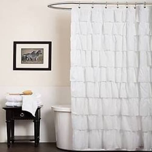 Ruffle Shower Curtain White - Bath