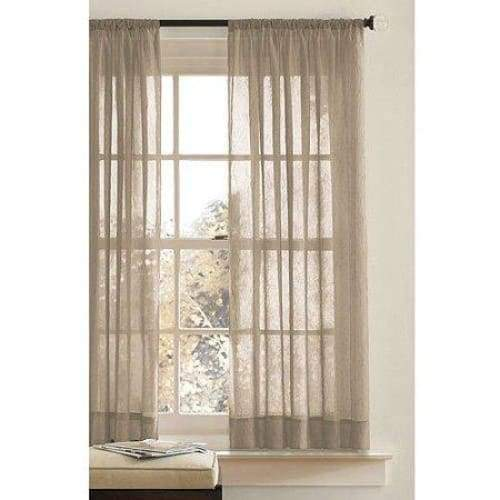 Sheer Crushed Voile Panel Clay Beige - Curtains