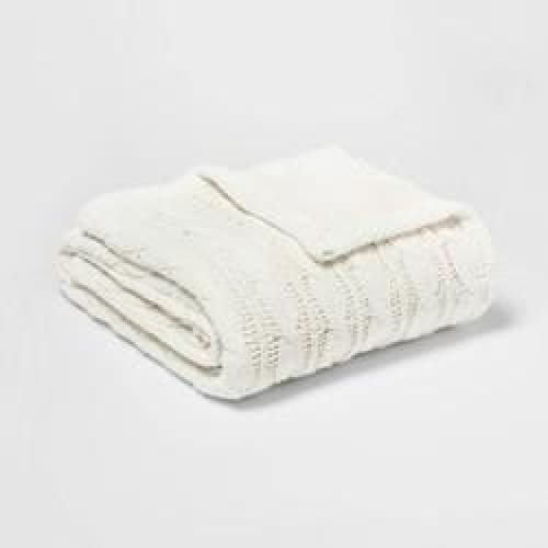 Solid Cable Knit Chenille with Sherpa Reverse Throw Blanket Cream - Bedding