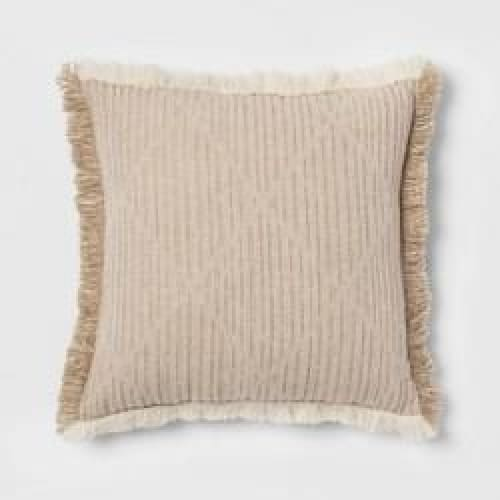Square Crinkle Pleat Throw Pillow Cream - Bedding