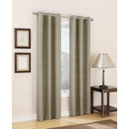 Sun Zero Caleb Linen Texture Thermal Insulated Energy Efficient Grommet Curtain Panel - Curtains