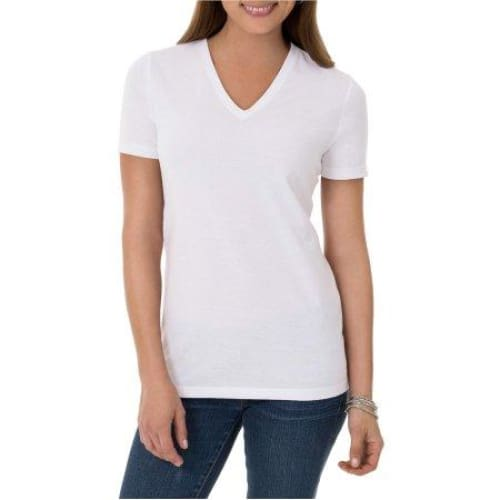 Time and Tru Women's Essential Short Sleeve V-Neck T-Shirt - Keuka Outlet