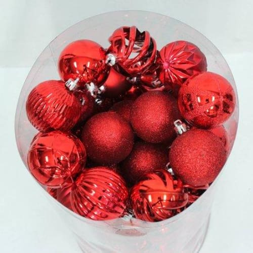 Traditional Shatterproof Christmas Ornaments, Set of 101, Red - Keuka Outlet