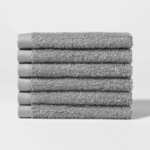 Washcloth Set 6 Pack - Gray - Bath