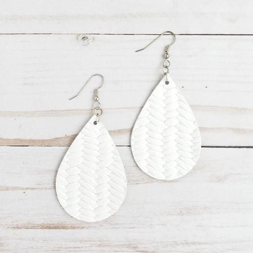 White Braided Leather Teardrop Earrings - Accessories