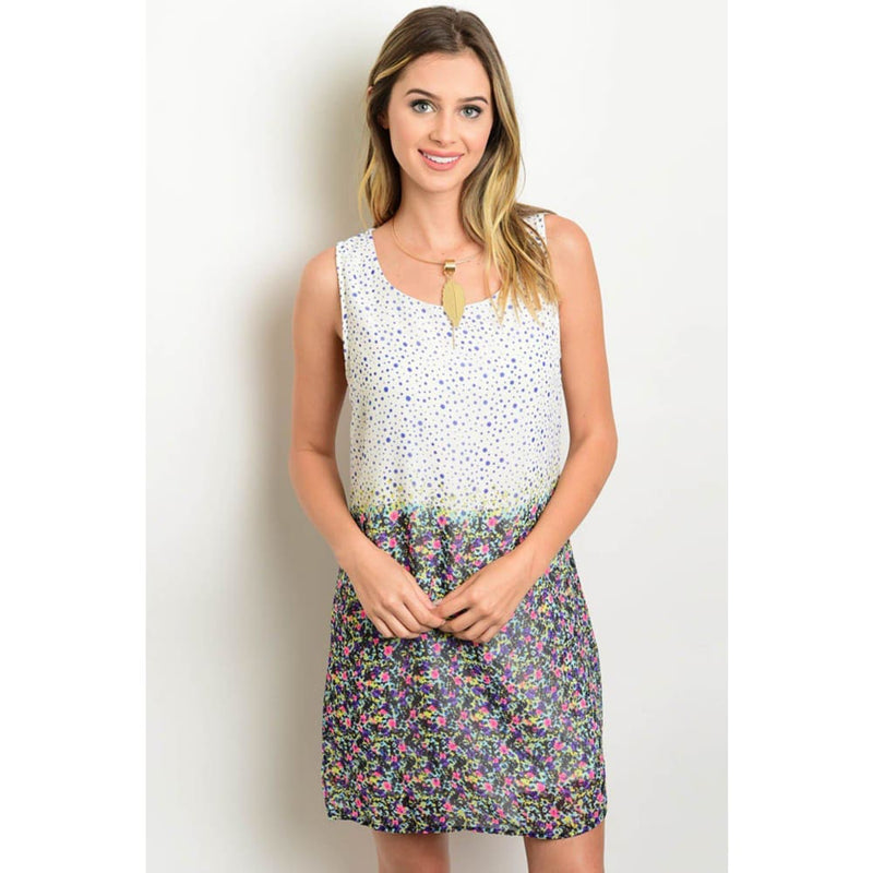 WHITE MULTI COLOR DRESS - Keuka Outlet