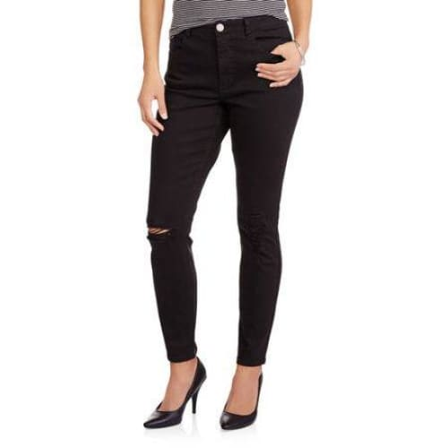 WHOA WAIT Women's Destructed Skinny Jeans - 4 / Washed Black - Clothing