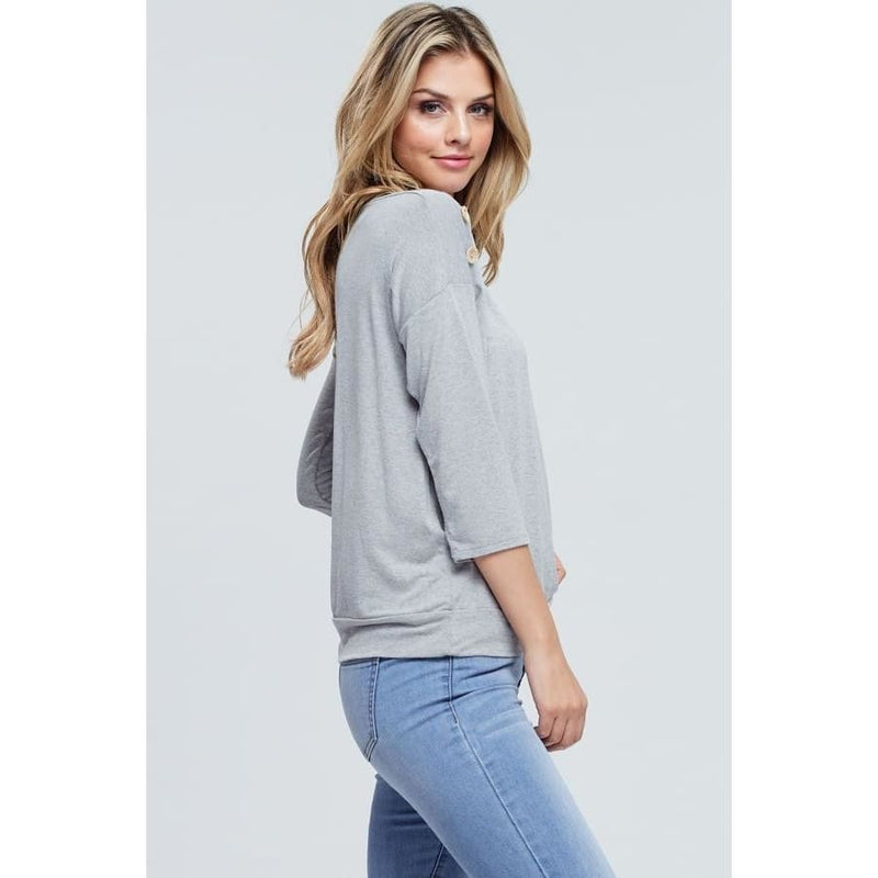 Women's 3/4 Sleeve Shoulder Button Detail Top - Keuka Outlet