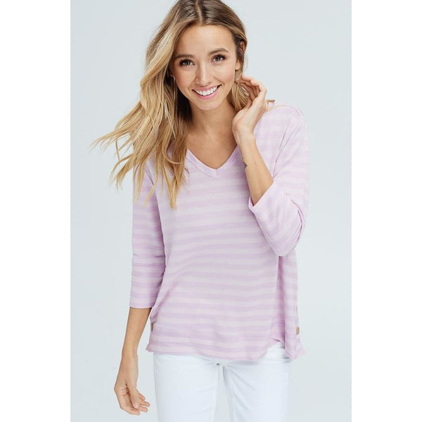Women's 3/4 Sleeve V-Neck Button Detail Top - Keuka Outlet