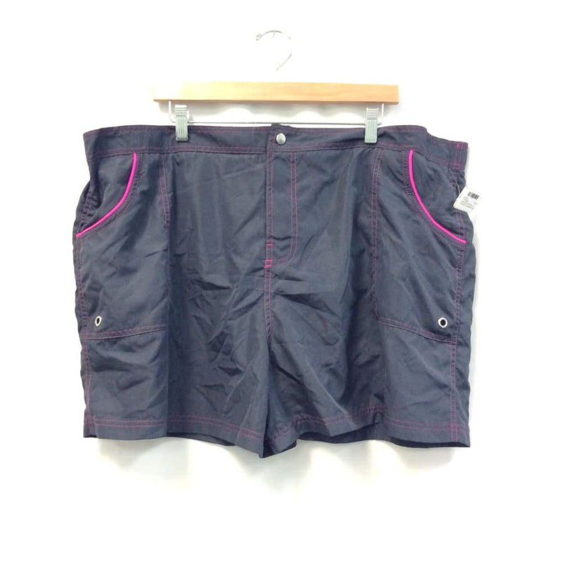 Womens Black/Purple Button Active Shorts - Womens Activewear