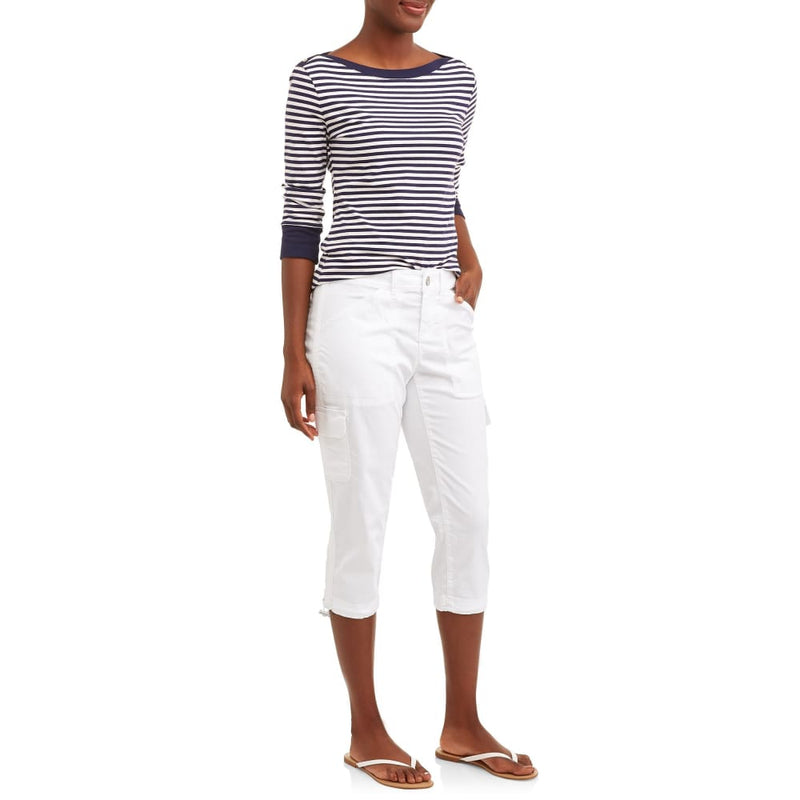 Womens Capris Cargo Relaxed Fit Size 14 Straight Stretch Mid - 14 / Artic White - Clothing