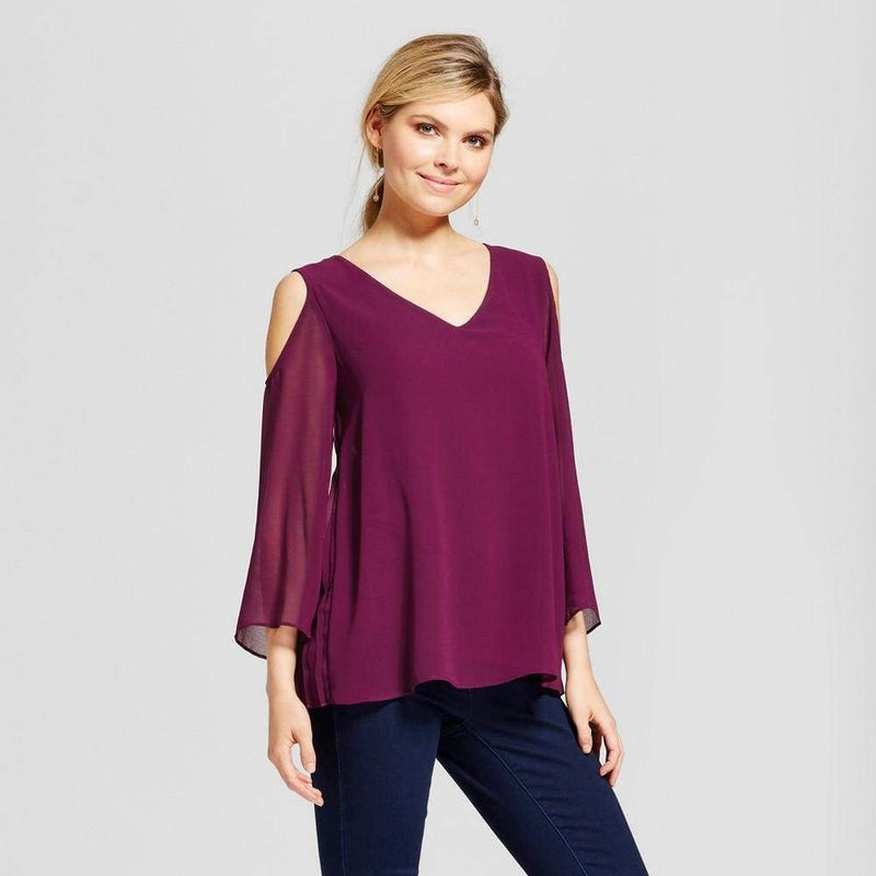 Women's Cold Shoulder Woven Blouse with Pleated Back - Keuka Outlet