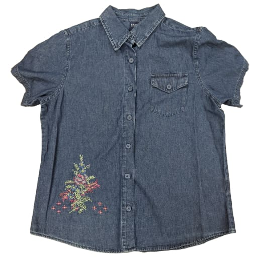 Women's Denim Short Sleeve Embroidered Top - L / Dark Wash - Clothing