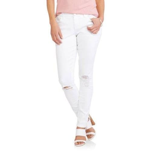 Women's Destructed Skinny Jeans - 18 / White - Clothing