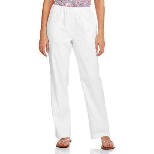 Women's Elastic Waistband Woven Pull-On Pants available in Regular and Petite - XXL (20) Petite / Arctic White - Clothing