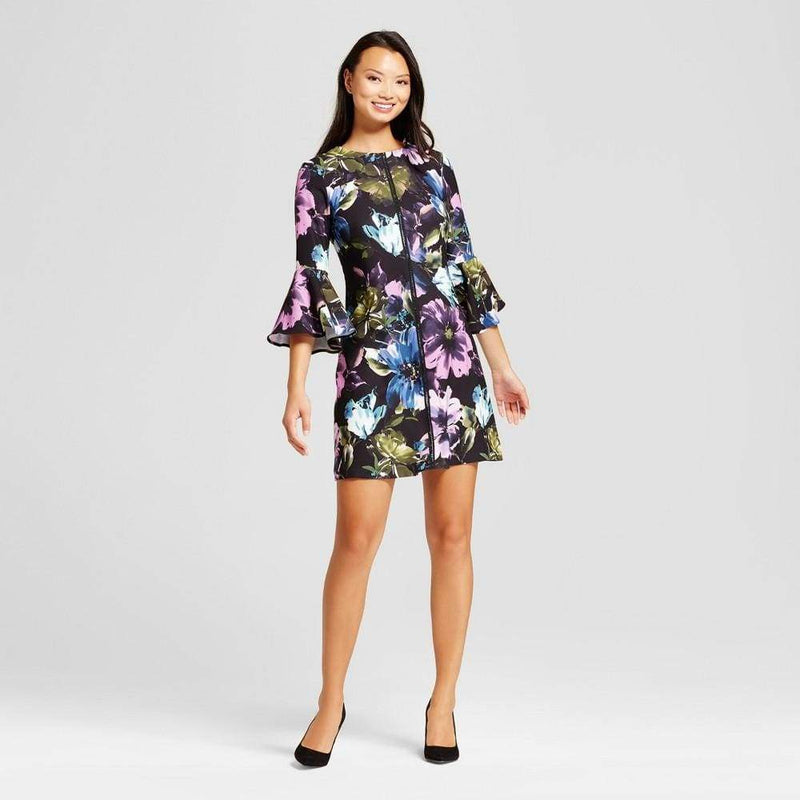 Women's Floral Printed Bellsleeve Shift Dress - Keuka Outlet