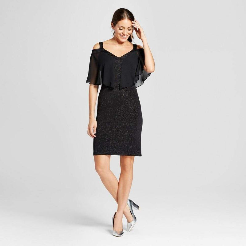 Women's Glitter Knit Cold Shoulder Dress with Chiffon Overlay - Keuka Outlet