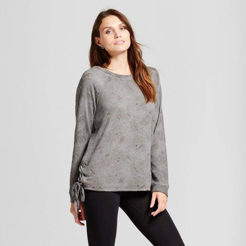 Women's Lace Up Oil Wash Sweatshirt - Keuka Outlet