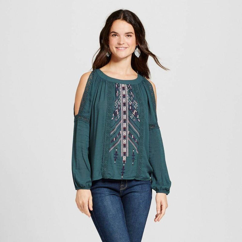 Women's Long Sleeve Embroidered Knit to Woven Cold Shoulder Top - Keuka Outlet