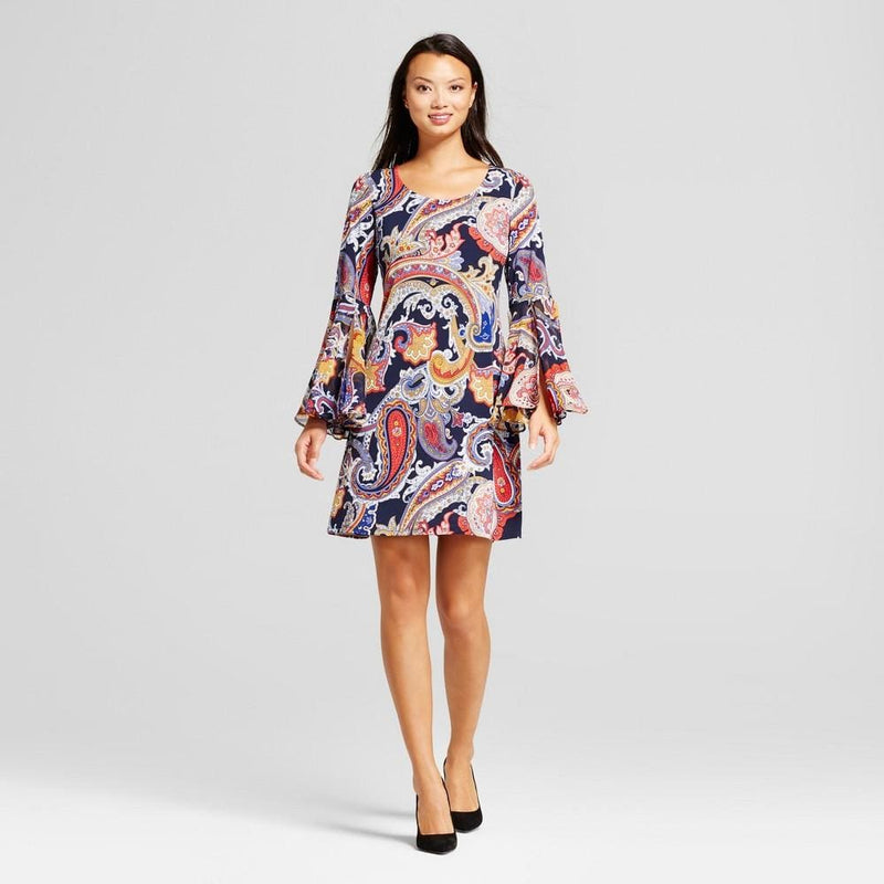Women's Paisley Shift Dress with Woven Trumpet Sleeve - Keuka Outlet