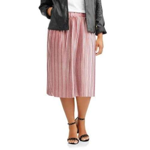 Women's Plus Pleated Velour Flowy Midi Skirt - Keuka Outlet