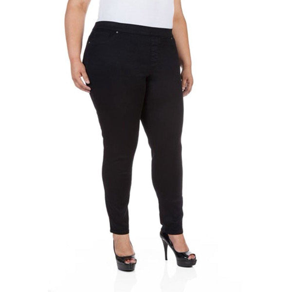 Women's Plus-Size Denim Jeggings - 22W / Black Rinse Wash - Clothing