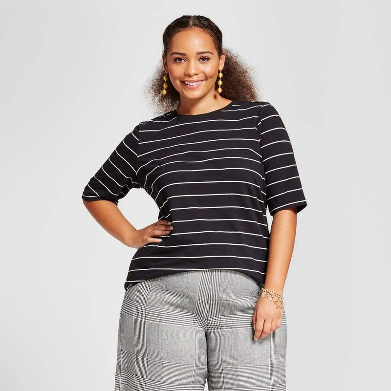 Women's Plus Size Short Elbow Sleeve T-Shirt - Keuka Outlet