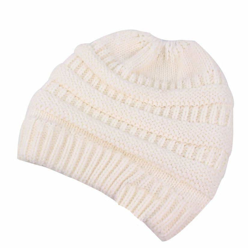 Women's Ponytail Beanie Hat Warm Winter Hat - Off White - Clothing