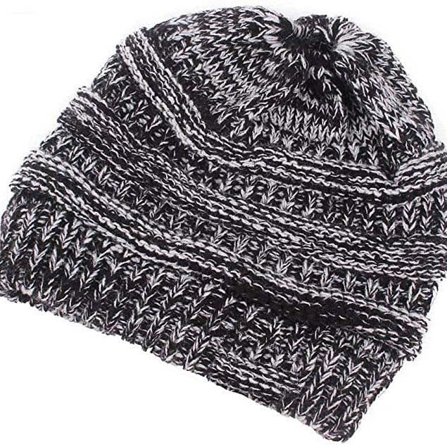 Women's Ponytail Beanie Hat Warm Winter Hat - Grey - Clothing