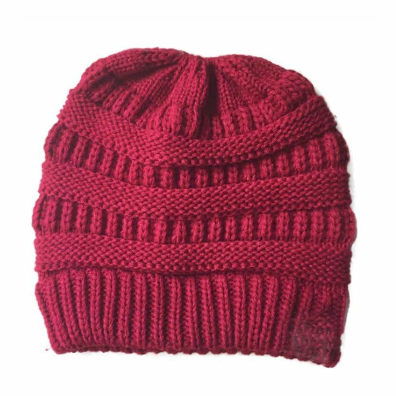 Women's Ponytail Beanie Hat Warm Winter Hat - Red - Clothing