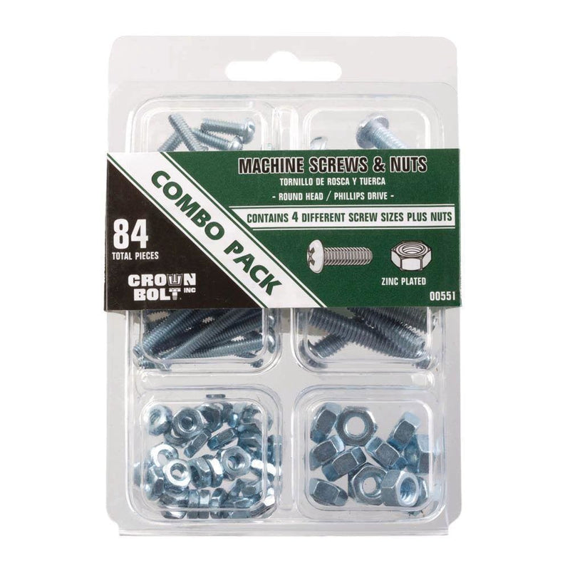 Zinc-Plated Machine Screw and Nut Combo Pack - Keuka Outlet