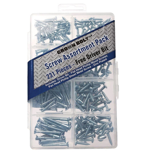Zinc-Plated Wood Screw Assortment (231-Piece per Pack) - Keuka Outlet