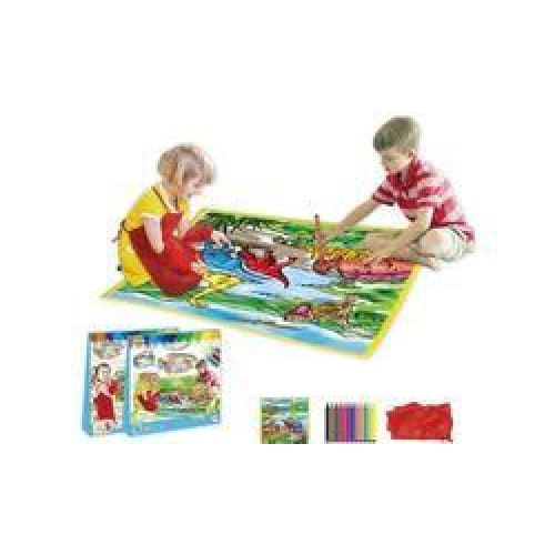 Zummy Kids Large Washable Coloring Play Mat & Apron - Multi - Toys