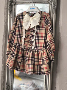 Check Burberry Inspired Bow Collar Dress