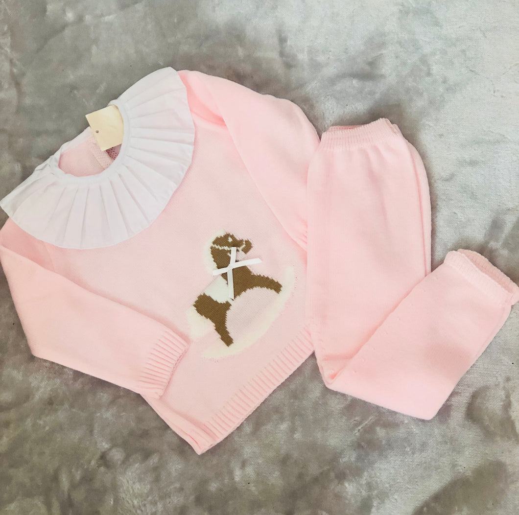 Rocking Horse Pink Knitted Tracksuit With Frill Collar