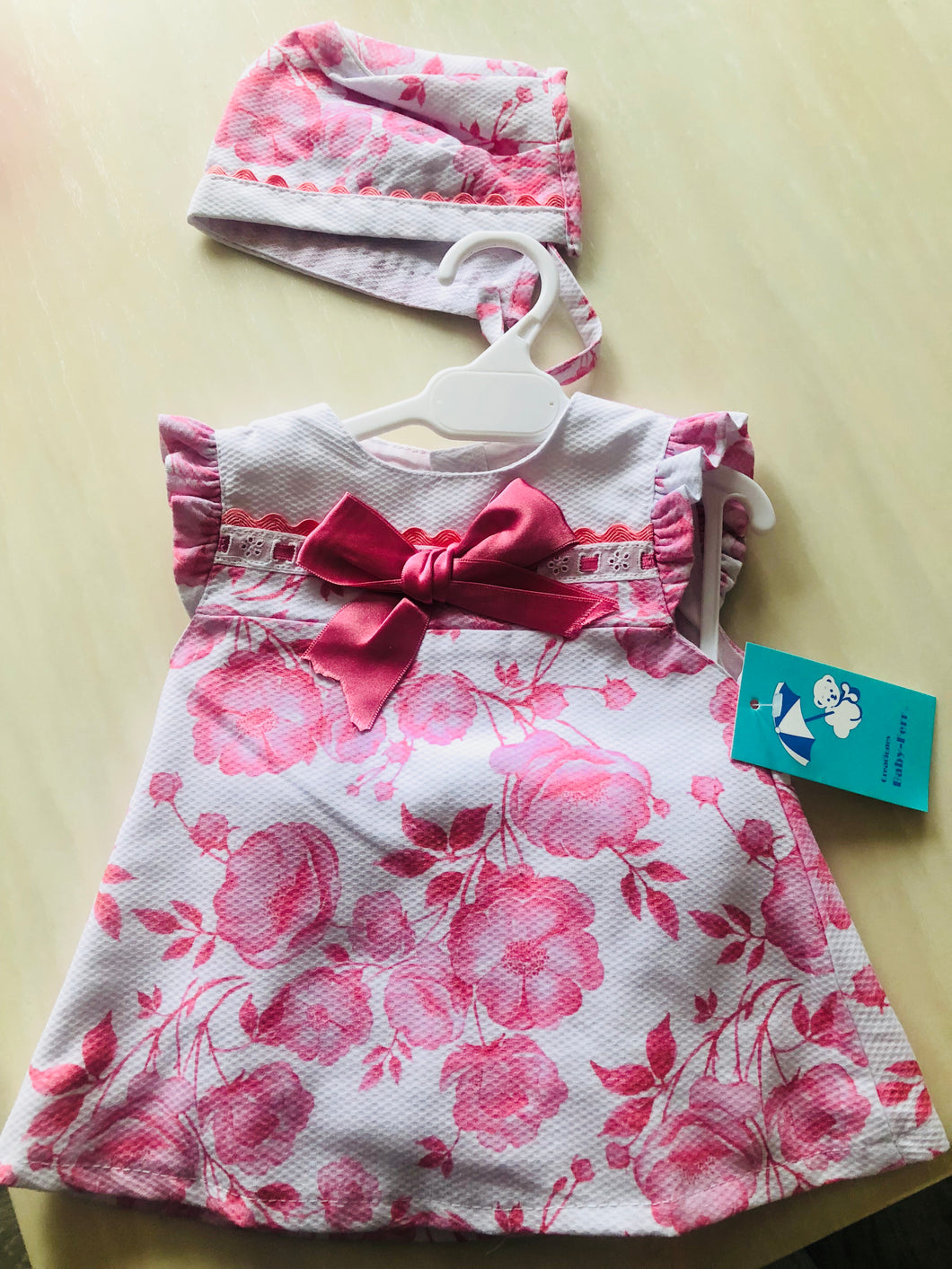 Baby A line Flower Dress With Bonet