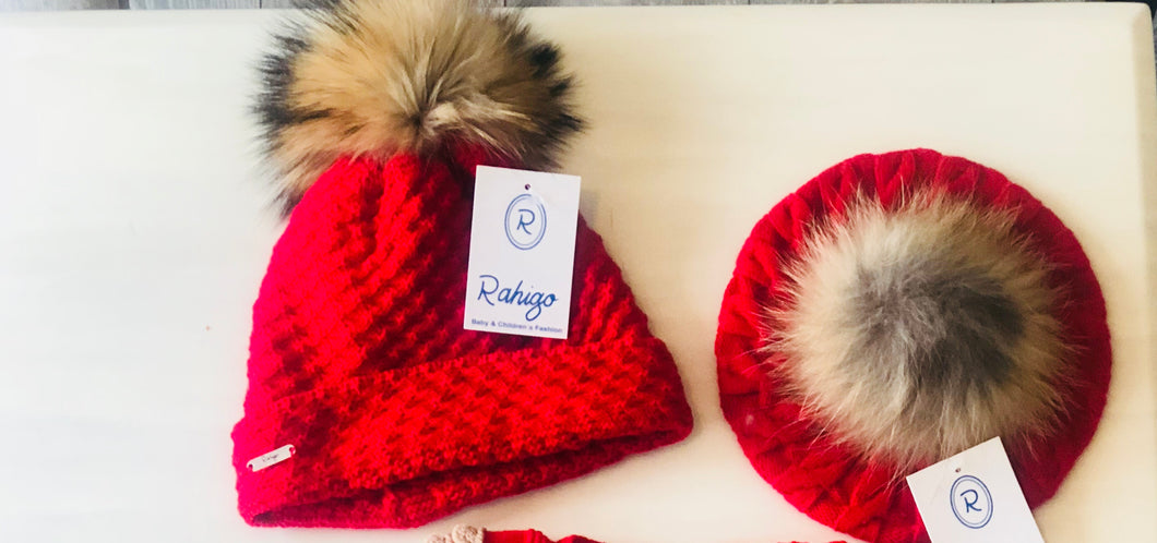 Rahigo Red PomPom hat