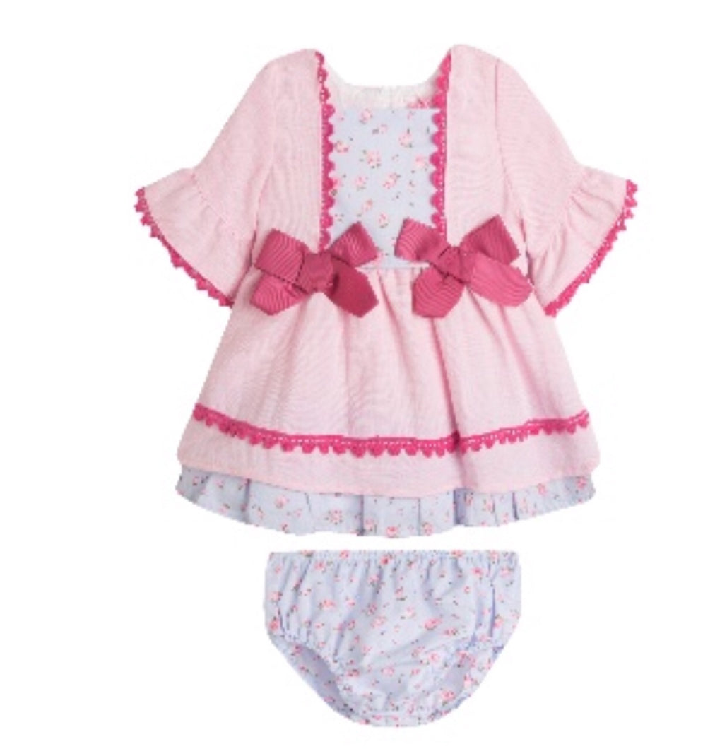 Baby Pink Double Bow Dress & Knickers