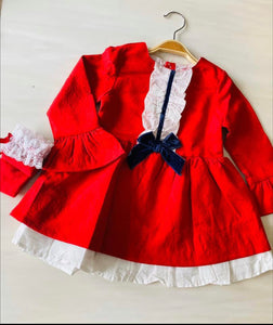 Red & Navy Christmas Dress