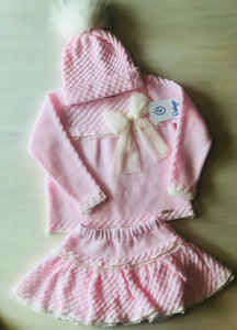 Pink & Cream 3 Piece Set ( Pompom hat)