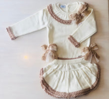 All Cream With Camel Trim Skort Set