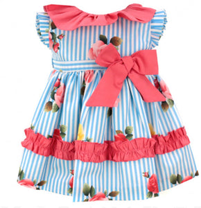 Baby coral & blue stripe dress