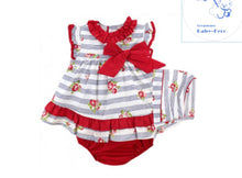 Red Stripe Baby Floral Dress With Bonet